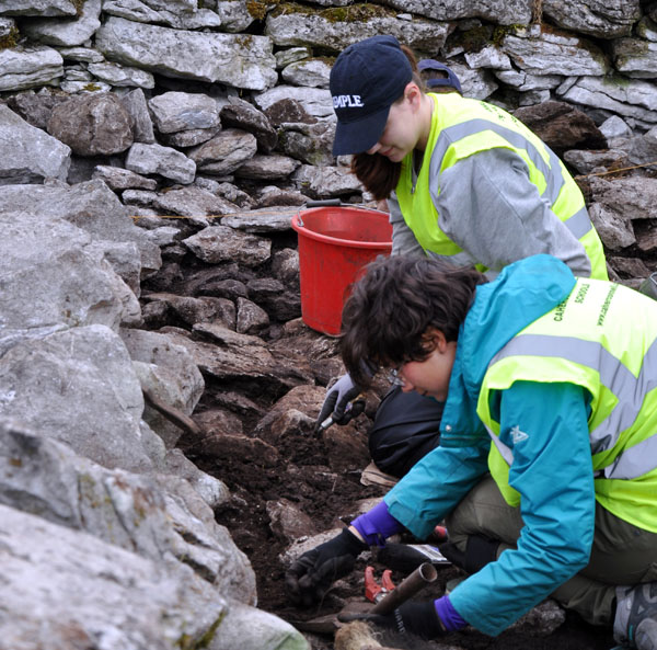 Erin Sack working with a colleague at the Caherconnell Field School in Ireland