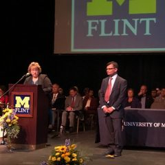 UM-Flint College of Arts and Sciences Dean Susan Gano-Phillips introduces new Associate Professor of Engineering Tariq Shamim
