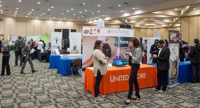 A recent career fair held at UM-Flint's Riverfront Center.