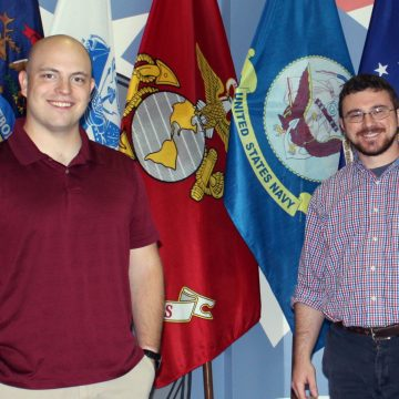 UM-Flint student Raymond Kusch and Geoff Roberts, Student Veterans Resource Center program manager