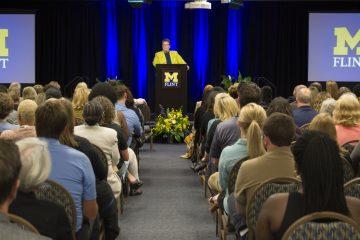 UM-Flint Chancellor Susan E. Borrego delivers the 2017-18 State of the University address.