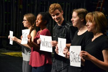 "UM-Flint Theatre cast members rehearse the opening of ""As You Like It."""