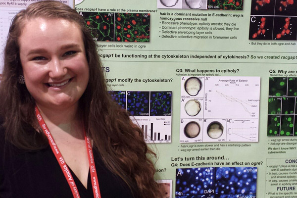 Sarah Richards, UM-Flint Biochemistry and Human Biology alumna, presenting research at the Allied Genetics Conference in Orlando, FL