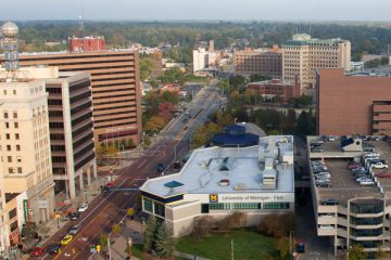 Aerial view of downtown Flint looking north.