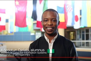 "Recent UM-Flint graduate Adedotun Ojelabi is featured in the ""You Are Welcome Here"" video."