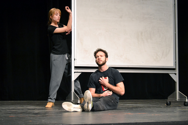 "Lucas Moquin during a rehearsal of ""As You Like It"" in the UM-Flint Theatre"