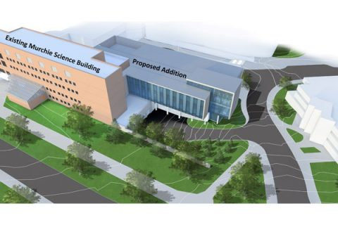 An aerial rendering of the William R. Murchie Science Building expansion. (Drawing courtesy of Architecture, Engineering and Construction)