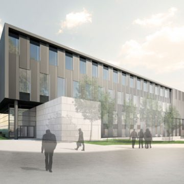 An artist's rendering of the William R. Murchie Science Building expansion. (Drawing courtesy of Architecture, Engineering and Construction)