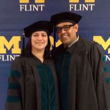 Shweta Gore (left) and her husband Devashish Tiwari (right) were in UM-Flint's PhD in Physical Therapy program together.