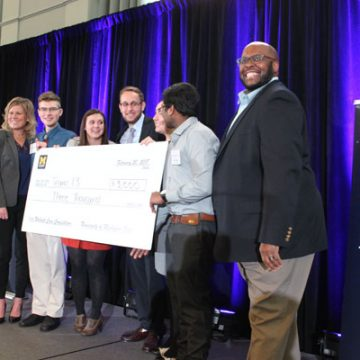 The winning team at UM-Flint's second annual Corporate Case Competition
