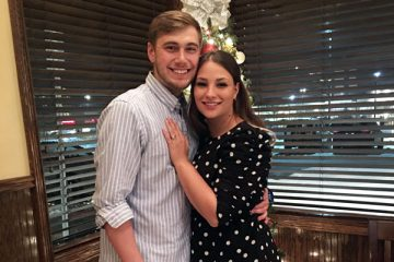 Jake Neighbors ('17) and Kelsey Schenk ('18) became engaged to be married at last December's commencement ceremony.