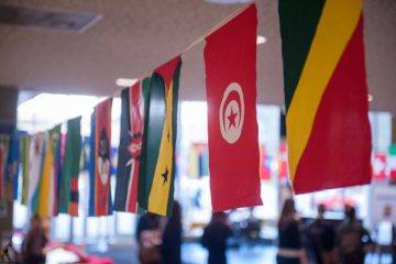 Flags from around the world hang in the University Center at UM-Flint.