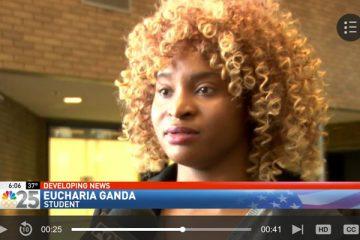 UM-Flint student Eucharia Ganda expresses her support for sexual assault survivors at Michigan State.