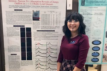 Alex Bakhsh of UM-Flint Physics presenting research at the Conference for Undergraduate Women in Physics