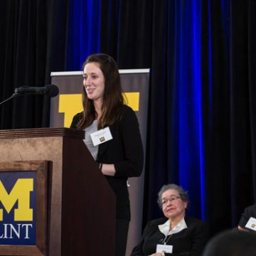 UM-Flint student Meghan Lucero received a scholarship created by Clarence Sevillian, who received a scholarship created by Dr.</body></html>