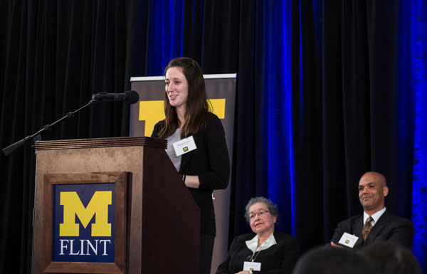 UM-Flint student Meghan Lucero received a scholarship created by Clarence Sevillian, who received a scholarship created by Dr. Ernestine Smith when he was a student.