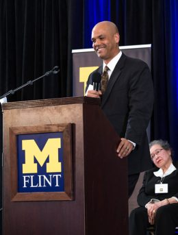 Clarence Sevillian speaks about receiving and creating a UM-Flint scholarship.