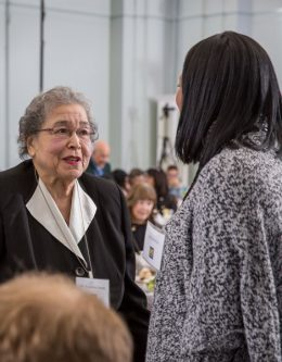 Dr. Ernestine Smith talks with Arteka Sevillian at the UM-Flint Scholarship Recognition Dinner.