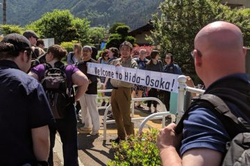 UM-Flint students are welcomed to the Japanese village of Hida-Osaka.