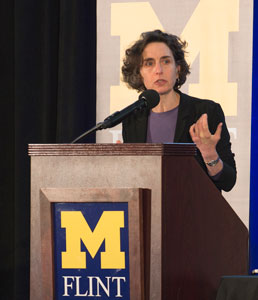Elizabeth Kolbert speaking at UM-Flint's 2017 Critical Issues Forum