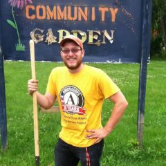 Jeffery Martin working with community gardens at the Potter Longway Community Garden.