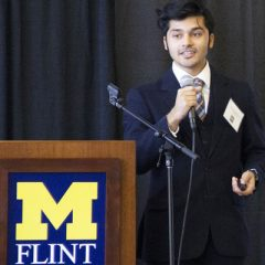 UM-Flint computer science student Nickxit Bhardwaj delivers his internship presentation