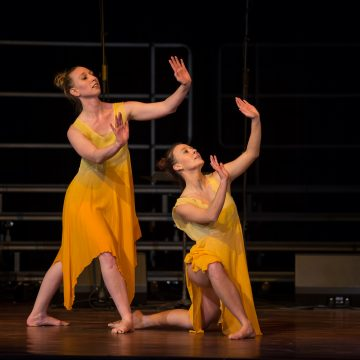 Theatre and Dance Scholarship recipient Chelsey Zappella performing with dance instructor Emma Davis