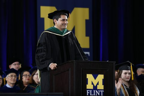 Dr. Bobby Mukkamala delivers the keynote at UM-Flint's December commencement ceremony.