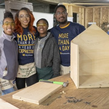 Genesee County Habitat for Humanity was one of eleven volunteer locations for UM-Flint's 'day of service' honoring Dr.</body></html>