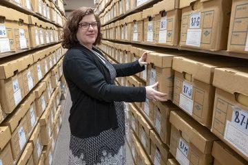 UM-Flint archivist Colleen Marquis