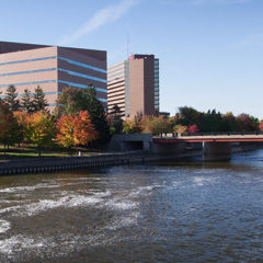 the flint river flowing through Flint, Michigan on the UM-Flint campus