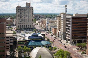 UM-Flint's University Pavilion, and other downtown Flint businesses along Saginaw Street.