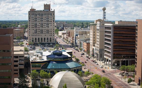 UM-Flint's University Pavilion, and other downtown Flint businesses along Saginaw Street.