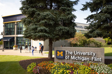 The University of Michigan-Flint campus in spring