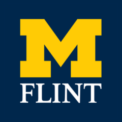 University of Michigan-Flint logo over blue background