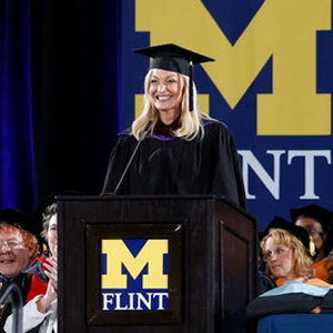 Angie Hendershot delivers the keynote at UM-Flint's December 2019 commencement ceremony.