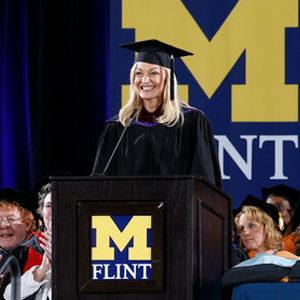 Angie Hendershot delivers the keynote at UM-Flint's December 2019 commencement ceremony.