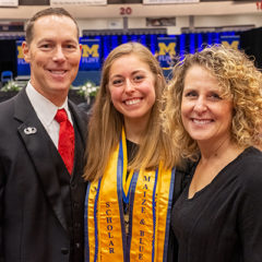 Chris, Jillian, and Beth Heidenreich at the December 2019 commencement ceremony