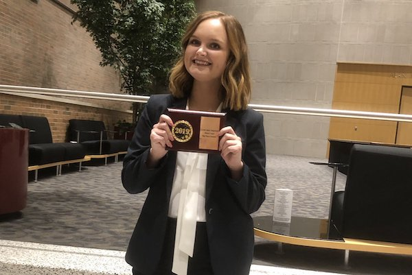 Taylor Liles was named the ninth-best orator out of 84 competitors at the regional Moot Court Competition at Saginaw Valley State University.