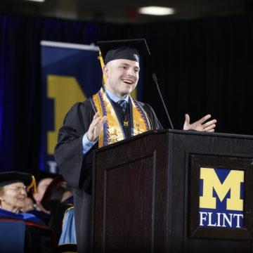 Raymond Kusch was the student speaker at UM-Flint's December 2019 commencement ceremony.