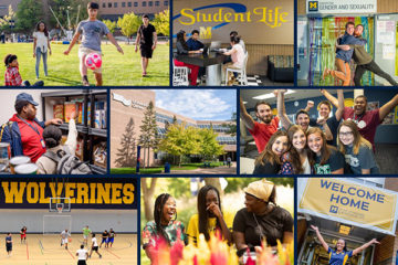 A collage of photographs show UM-Flint students kicking a soccer ball, studying in the UCEN, getting food at the Wolverine Food Den, playing basketball in the Rec Center and hanging out on campus.