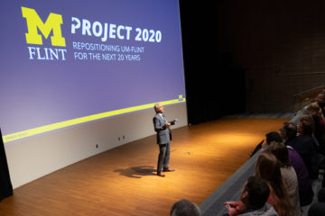 Chancellor Deba Dutta discussing Project 2020