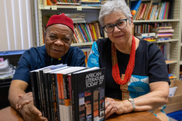 Africana Studies professor Ernest Emenyonu (left) and Dr. Patricia Emenyonu (right), a lecturer in both Africana Studies and English.