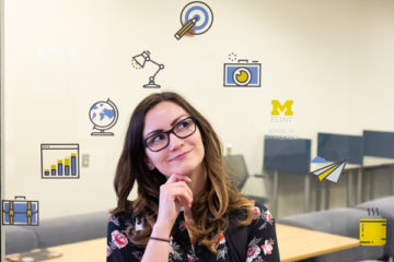 UM-Flint student Elisabeth Hamilton within the Business Innovation Center