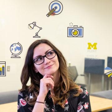 UM-Flint student Elisabeth Hamilton within the Business Innovation Center