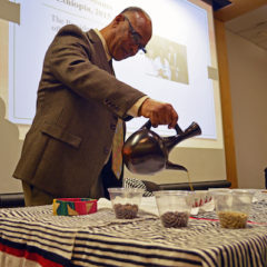 Dr. Guluma Gemeda pours coffee in an Ethiopian coffee ceremony as a part of Africa Week 2020 at UM-Flint.