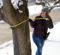 Nicole BlankerNicole Blankertz, senior Wildlife Biology major, measures the diameter of a tree on the UM-Flint campus. tz measuring a tree