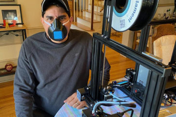 Dr. Bobby Mukkamala wearing a finished, 3D-printed mask. (Photo from the Mukkamala family)