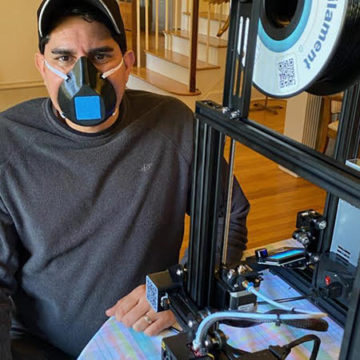 Dr. Bobby Mukkamala wearing a finished, 3D-printed mask. (Photo from the Mukkamala family)