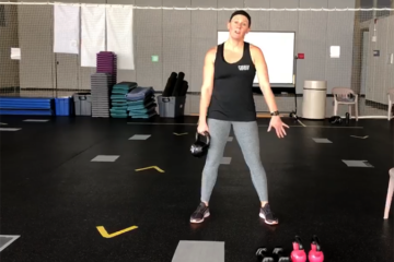 Trainer Jessica Viertlboeck creates workout videos for the campus community to help stay active while adhering to stay at home orders during the COVID-19 pandemic.